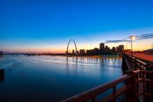 The St. Louis, Missouri Skyline And Gateway Arch From Eads Bridge.