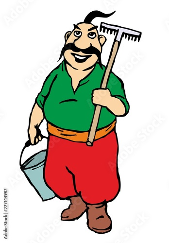 Farmer standing holding rake and metal bucket. Isolated on white background. Flat vector illustration