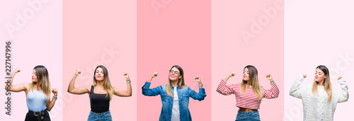 Fotografía  Collage of young beautiful woman over pink stripes isolated background showing arms muscles smiling proud