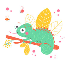 Cute Green Chameleon Sitting On The Orange Branch With Light Yellow Leaves On Background, Vector Illustration. Art Poster For Nursery Or Kids Room Poster