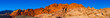 canvas print picture - Panoramic View of Calico Hill of Red Rock Canyon in the Desert Near Las Vegas, Nevada at Sunset