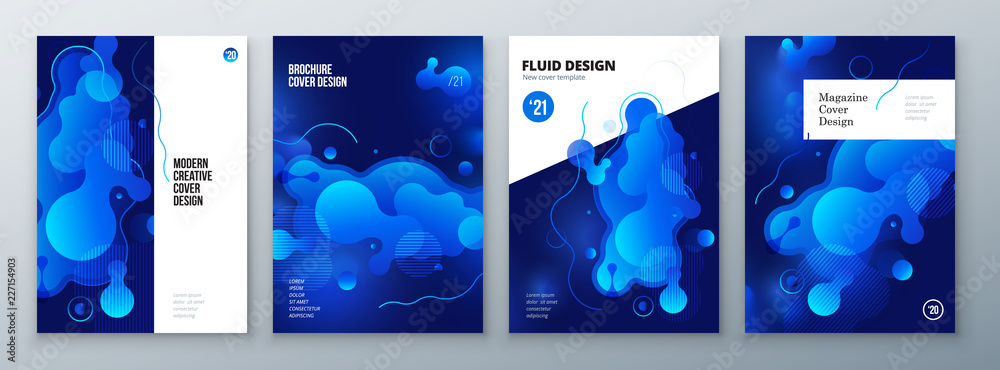 Fototapeta Organic brochure layout design. Bright fluid color template for brochure, catalog, magazine or flyer background. Vector mockup illustration.