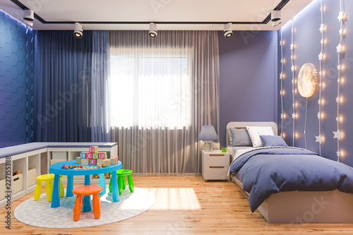 3d Render Of The Children S Bedroom Interior In Deep Blue Color Visualization Of The Concept Of Interior Design Child Room For Boy In A Space Theme Buy This Stock Illustration And Explore
