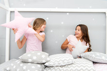 Girls Sleepover Party Ideas. Soulmates Girls Having Fun Sleepover Party. Girls Happy Best Friends In Pajamas With Pillows Sleepover Party. Pillow Fight Pajama Party. Sleepover Time For Pillow Fight