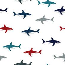 Seamless Vector Doodle Sharks Pattern.