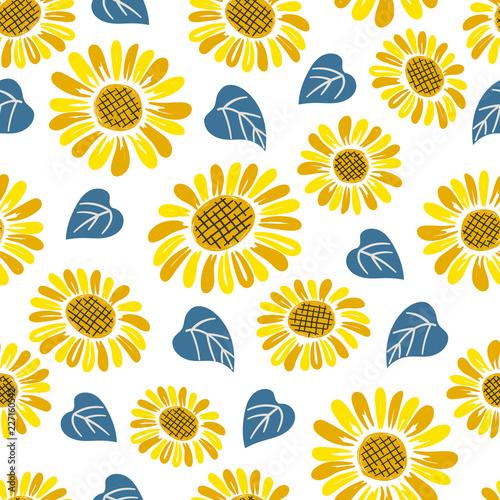 Obraz na plátně Seamless doodle sunflower pattern.