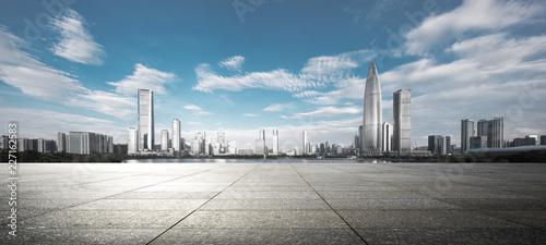 empty ground with modern cityscape shenzhen Canvas Print