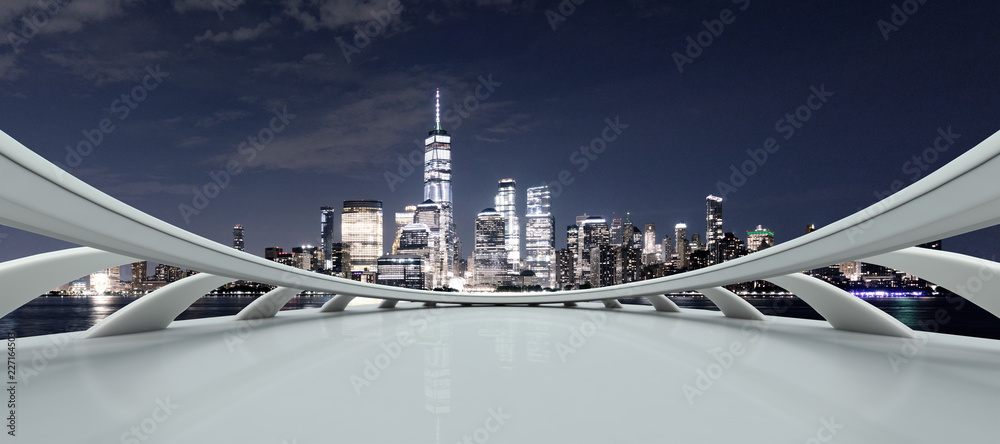 Fototapeta empty platform with modern cityscape new york at night