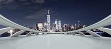 Empty Platform With Modern Cityscape New York At Night