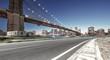 asphalt highway with cityscape of manhattan
