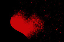RED BROKEN HEART ON BLACK BACK...