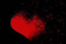 RED BROKEN HEART ON BLACK BACKGROUND