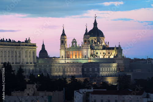 Poster Madrid Madrid landmark at night. Landscape of Santa Maria la Real de La Almudena Cathedral and the Royal Palace. Beautiful skyline at Madrid, Spain.