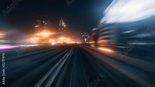 obraz PCV View from first railway carriage. Speed motion blur metro abstract background at night