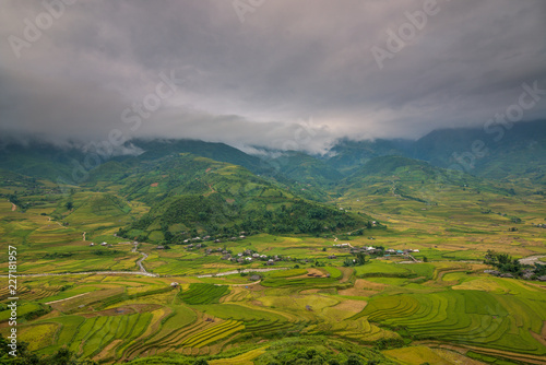 Mu Cang Chai terraces rice field in harvest season