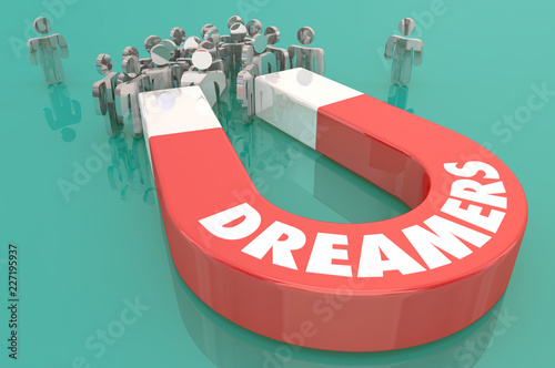 Fényképezés  Dreamers Magnet People Hopes Big Dreams 3d Illustration