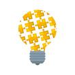 bulb light idea with puzzle pieces
