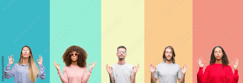 Fototapety, obrazy: Collage of group of young people over colorful vintage isolated background relax and smiling with eyes closed doing meditation gesture with fingers. Yoga concept.