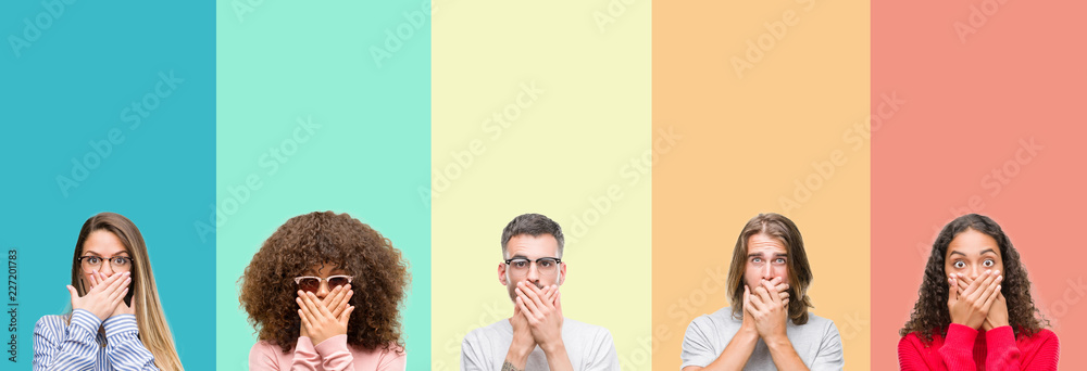 Fototapeta Collage of group of young people over colorful vintage isolated background shocked covering mouth with hands for mistake. Secret concept.