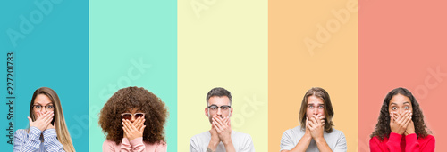 Photo Collage of group of young people over colorful vintage isolated background shocked covering mouth with hands for mistake