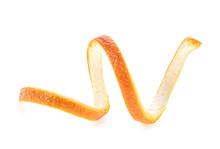 Single Orange Peel On A White Background. Orange Zest Spiral.