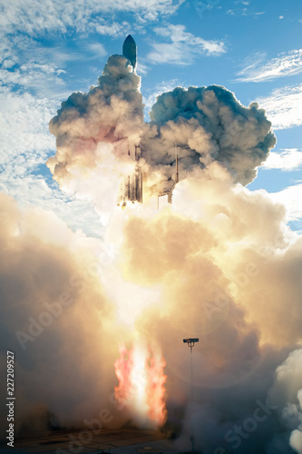 Spaceship launch at daytime. The elements of this image furnished by NASA.