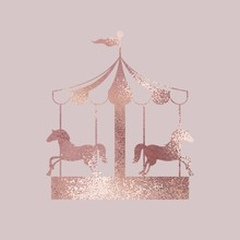 Carousel. Rose Gold. Elegant Vector Illustration