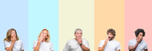 Collage Of Group Of Young And Middle Age People Wearing White T-shirt Over Color Isolated Background Bored Yawning Tired Covering Mouth With Hand. Restless And Sleepiness.