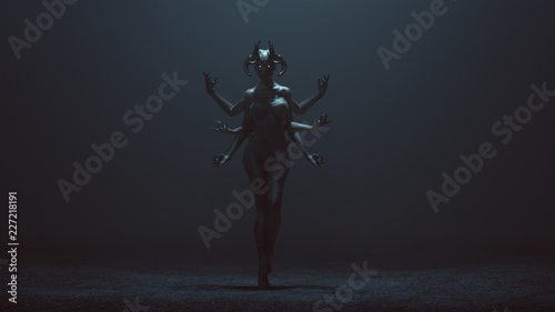 Valokuva Sexy Multi-Armed Devil Woman in a foggy void 3d Illustration 3d render