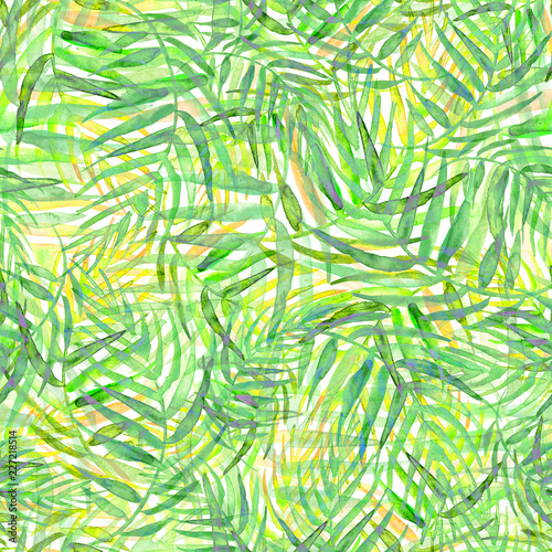 Spoed Fotobehang Tropische Bladeren Seamless watercolor background from green tropical leaves, palm leaf, floral pattern. Bright Rapport for Paper, Textile, Wallpaper, design. Tropical leaves watercolor.