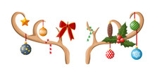 Reindeer Antler With Balls, Bow, Holly.