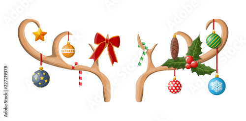 Tablou Canvas Reindeer antler with balls, bow, holly.