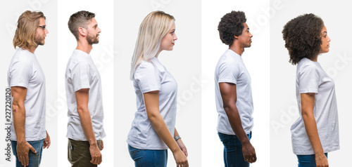 Collage of group of young people wearing white t-shirt over isolated background looking to side, relax profile pose with natural face with confident smile. - fototapety na wymiar
