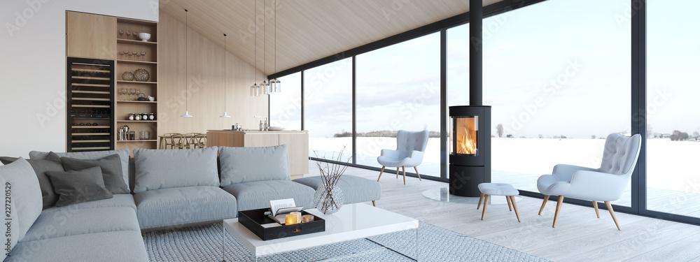 Fototapeta new modern scandinavian loft apartment. 3d rendering