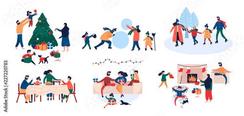 Cuadros en Lienzo Collection of family enjoying Christmas holiday home outdoor activity