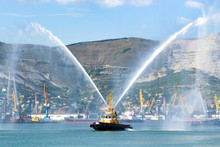 Fireboat Of The Fire Department Is Shown In The Port Harbor
