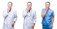 Collage Of Handsome Senior Hoary Doctor Man Wearing Surgeon Uniform Over Isolated Background Bored Yawning Tired Covering Mouth With Hand. Restless And Sleepiness.