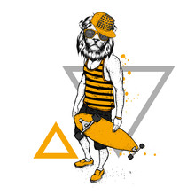Stylish Lion-skater In Jeans And Sneakers. Skateboard. Vector Illustration For A Postcard Or A Poster, Print For Clothes. Street Cultures. Leo.