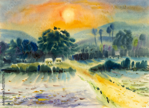 Foto op Aluminium Oranje Landscape painting on paper colorful of cottage, fields, mountains