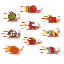 Fast Snails Set, Funny Cartoon...