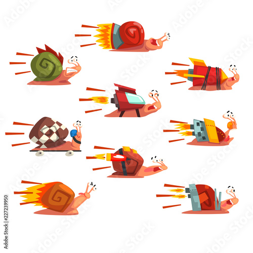 Fotografie, Obraz  Fast snails set, funny cartoon mollusk characters with turbo rocket speed booste