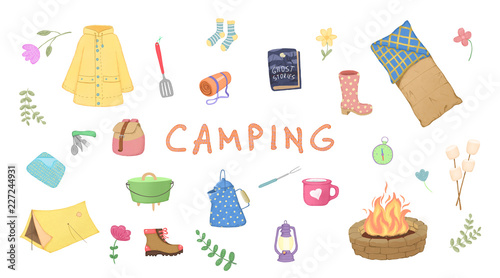 Fotografía  Illustration of glamping, camping, outdoor.