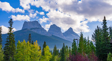 The Three Sister Mountain Near Canmore In Canada In Autumn