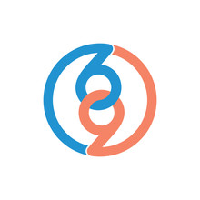Number 69 Linked Circle Logo Vector
