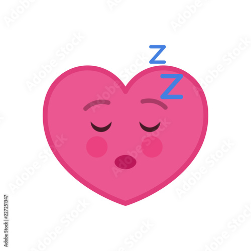 Sleeping heart shaped funny emoticon icon  Relaxing pink
