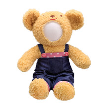 Teddy Bears Doll Isolated On White Background. Bear's Doll In Blue Jeans Uniform. Blank Face Toy For Design.