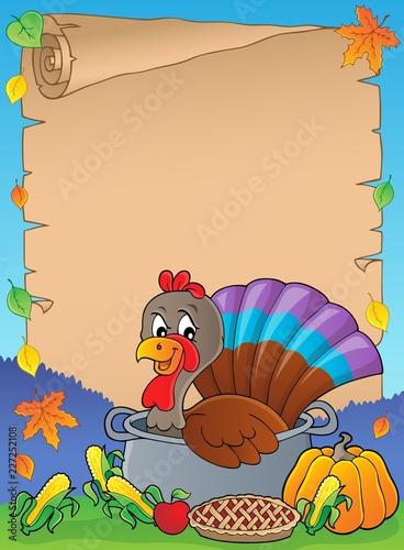 Turkey bird in pan theme parchment 1