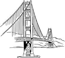 Golden Gate Bridge Vector Draw...