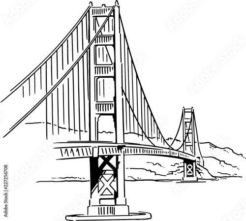 Golden Gate Bridge vector drawing Canvas Print