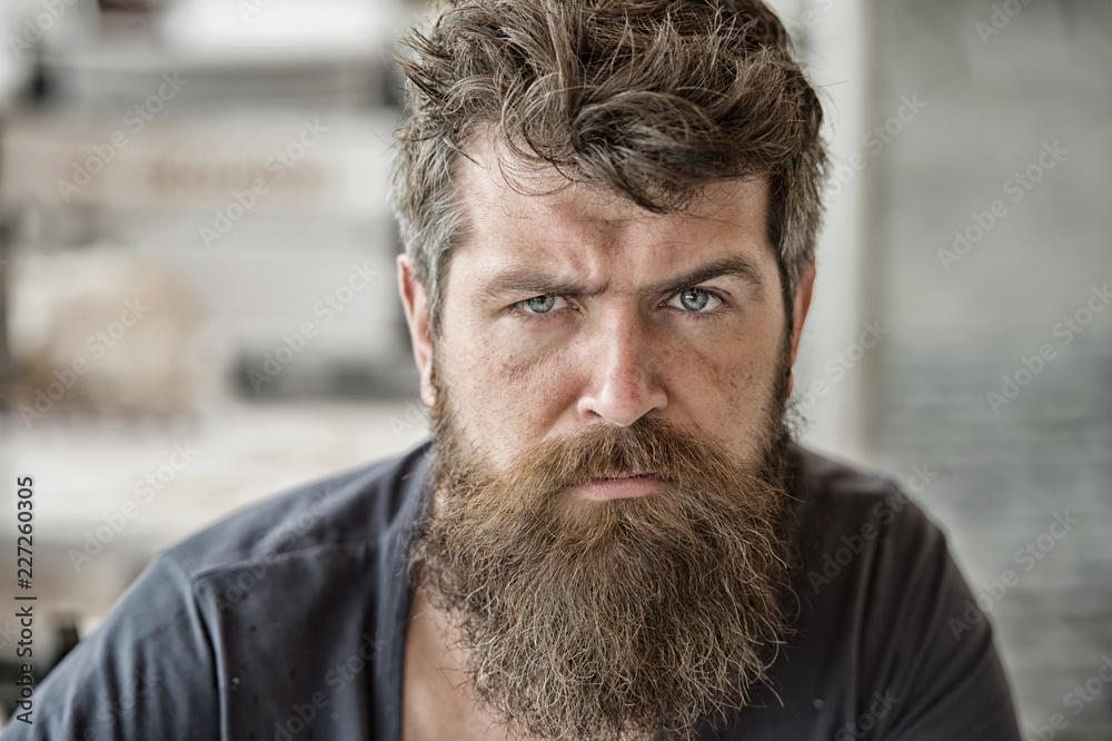 Fényképezés  Man brutal bearded hipster thoughtful mood defocused background